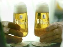 Glasses of Bitburger