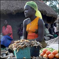 A woman at her market stall in Unyama camp, Gulu, northern Uganda