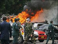 Explosión de coche bomba en Colombia.