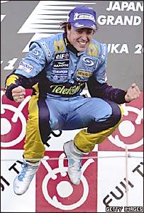 Fernando Alonso celebra su triunfo en el Gran Premio de Jap�n.