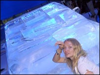 Model Jodie Kidd and ice sculpture of biodiesel car. Image: BBC