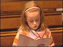 A girl at Thursday's service to remember the Aberfan disaster