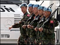 Turkish troops in Ankara ahead of joining the UN force, 12 Oct