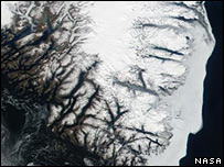 Satellite view of SE coast of Greeland (Nasa Modis Land Rapid Response Team)