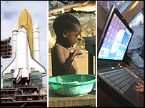 Montage of shuttle, a child eating and a computer