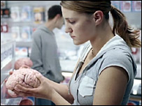 Girl holds brain in TV advert