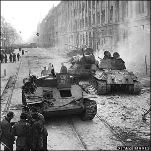 Tanks on the streets of Budapest