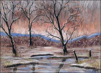 Picture of a winter landscape painted by Alison Lapper