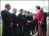 The Princess Royal meets Ospreys players