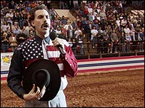 Borat at rodeo in Salem, Massachusetts