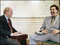 Borat with public speaking coach Pat Haggerty