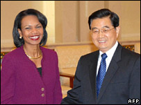 Ms Rice meets Chinese President Hu Jintao in Beijing