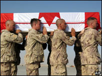 Canadian soldiers carry a coffin