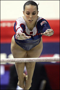 Beth Tweddle performs on the uneven bars