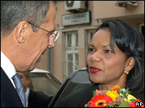 Ms Rice with Russian Foreign Minister Sergey Lavrov