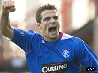 Nacho Novo celebrates scoring Rangers' winner