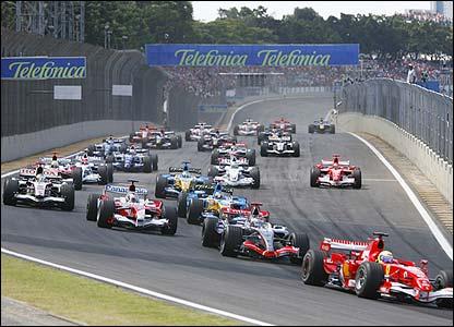 Felipe Massa leads through the first corner