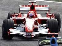 Michael Schumacher catches a moment of opposite lock in his Ferrari during the Brazilian Grand Prix