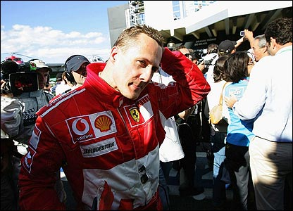 Schumacher retires to the pits