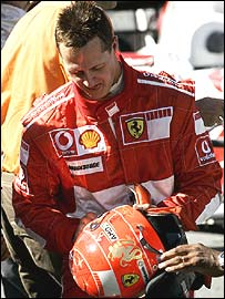 Michael Schumacher after the Brazilian Grand Prix