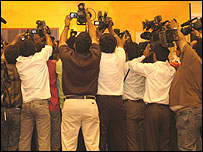 A media scrum in India