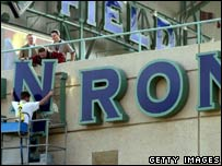Enron sign being removed