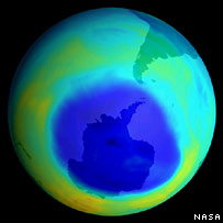 Antarctic ozone hole  Image: Nasa
