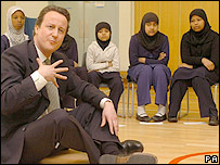 David Cameron at a school