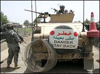 US military on patrol in southern Baghdad