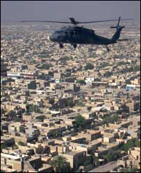 A US military helicopter above Baghdad