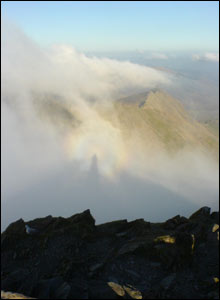 "A phenomenon known as a ""Brocken spectre"" captured by Nick on Snowdon, with Crib Goch and Crib y Ddysgl in the distance"