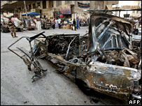 Scene of a car bomb in Baghdad (file picture)