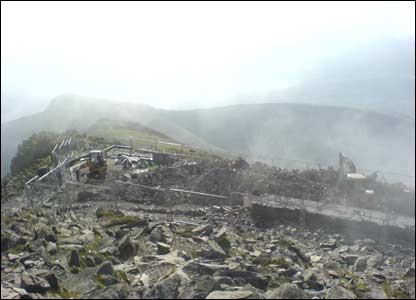 Work to demolish the cafe at the top of Snowdon (sent by Nick from Cardiff)