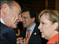 Jacques Chirac and Angela Merkel