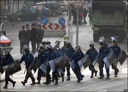 Riot police in Budapest, Hungary