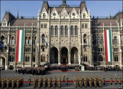 Official commemorations in front of the parliamentary building, Budapest, Hungary