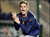 David Goodwillie in action for Scotland Under-19s