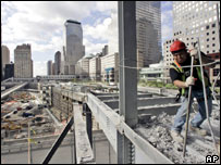 A construction worker on the site of Ground Zero in New York