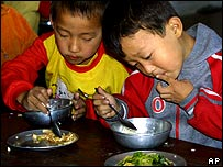 Mealtime at a school in North Korea