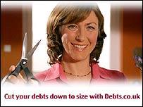Advert for debts.co.uk