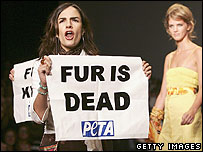 Peta anti-fur protestors at London Fashion Week, September 18th 2005