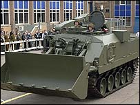 BAE Terrier vehicle, used for demolitions and obstacle clearance