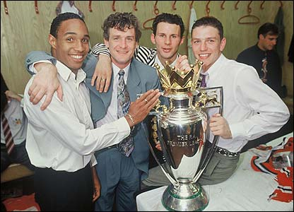 Paul Ince, Mark Hughes, Ryan Giggs and Lee Sharpe celebrate winning the title in 1993
