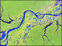 Landsat image of the Amazon river  Image: Nasa