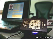 UK passport on scanner