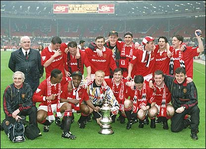 United celebrate their FA Cup win over Chelsea in 1994