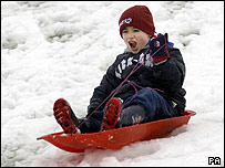 Boy riding a sledge in the snow
