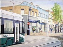 An artist's impression of a tram in Beeston