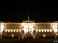 Buckingham Palace lit up
