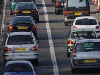 Queues of cars on the motorway